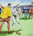 Sir Francis Drake 1540-3-96 playing bowls, from Peeps into the Past, published c.1900 - Trelleek