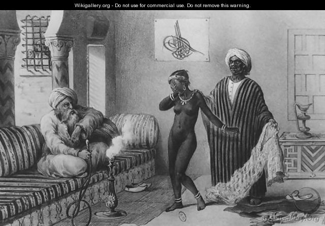 A Young Girl from Timbuktoo Being Offered by a Slave Master in Tripoli in 1854, from Voyages au Soudan et dans LAfrique Septentrionale, engraved by A. Adam, 1850 - Pierre Tremaux
