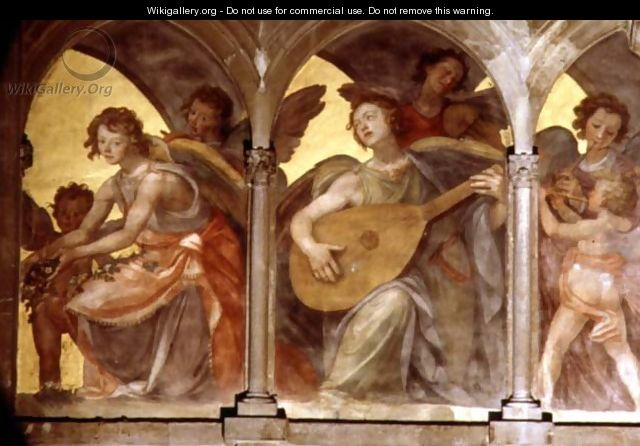 Musical angels within a trompe loeil cloister, from the interior west facade 2 - Santi Di Tito