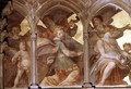 Musical angels within a trompe loeil cloister, from the interior west facade - Santi Di Tito