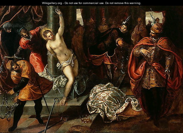 Saint Catherine of Alexandria being whipped in the presence of Emperor Maxentius - Jacopo Tintoretto (Robusti)