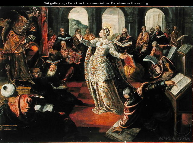 The Dispute of Catherine of Alexandria with the philosophers - Jacopo Tintoretto (Robusti)