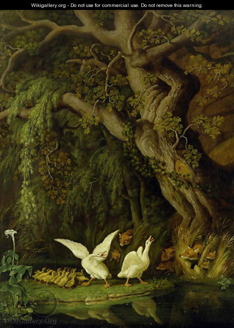 Foxes and Geese - Johann Heinrich The Elder Tischbein