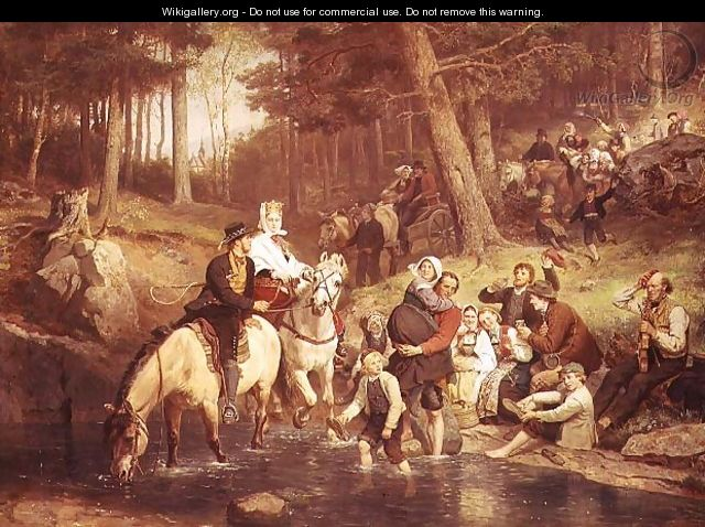 The water crossing - Adolph Tidemand