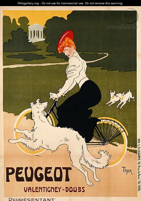 Poster advertising Peugeot bicycles, printed by G. Elleaume, c.1910 - Walter Thor
