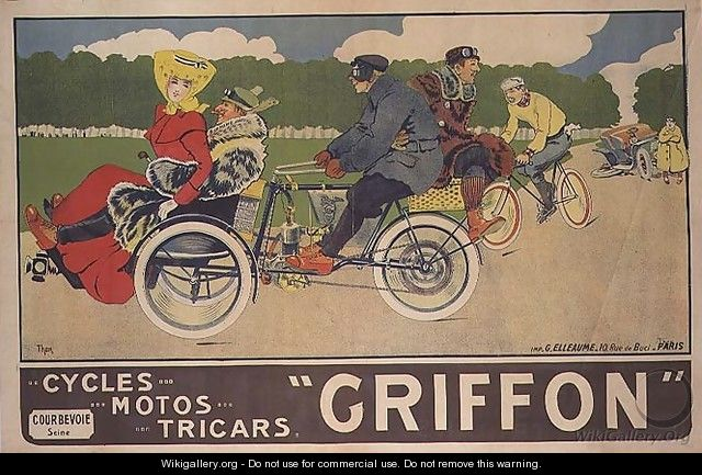 Poster advertising Griffon Cycles, Motos & Tricars - Walter Thor