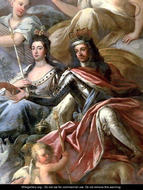 Ceiling of the Painted Hall, detail of King William III 1650-1702 and Queen Mary II 1662-94 Enthroned, 1707-14 - Sir James Thornhill