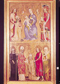 Votive panel of Archbishop Jan Ocko of Vlasim depicting Top The Virgin and Child surrounded by St. Sigismund, Emperor Charles IV 1316-78 Wenceslas IV 1361-1419 and St. Wenceslas 907-29. Bottom Jan Ocko of Vlasim, Archbishop of Prague kneeling - of Prague Theodoricus