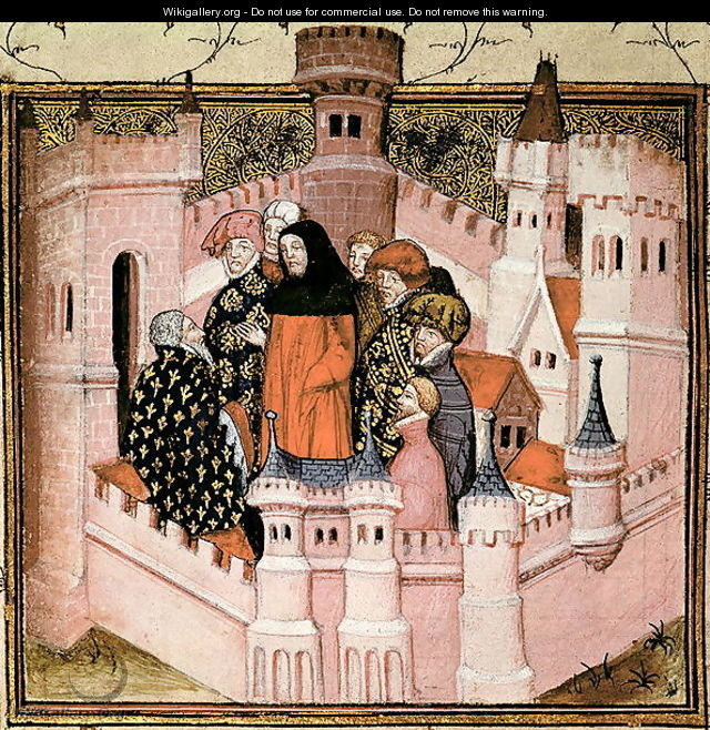 Harl 1319 f.37v Richard II receiving the Earl of Northumberland at Conway, from the Histoire du Roy dAngleterre, Richard II - Master The Virgil