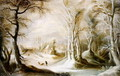 Winter landscape with a peasant walking through snow - Winter Landscapes The Master of the