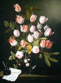 Tulips, yellow and pink roses in a glass vase - Jan Philip van Thielen