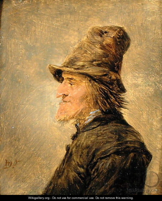 Portrait of man with a beard, in profile, wearing a straw hat - David The Younger Teniers