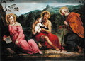 Holy Family and St.John the Baptist, after an original by Paris Bordone - David The Younger Teniers