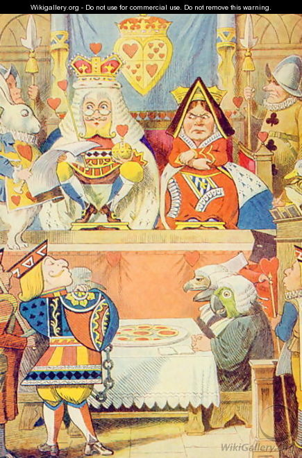 The Trial of the Knave of Hearts, illustration from Alice in Wonderland by Lewis Carroll 1832-9 - John Tenniel