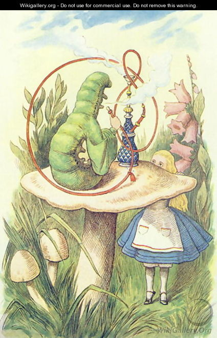 Alice Meets the Caterpillar, illustration from Alice in Wonderland by Lewis Carroll 1832-9 - John Tenniel