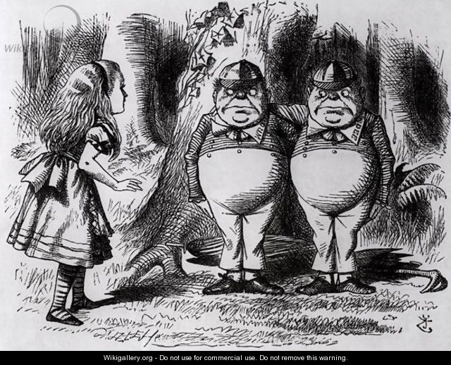 Tweedledum and Tweedledee, illustration from Through the Looking Glass, by Lewis Carroll, 1872 - John Tenniel