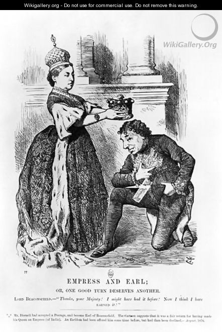 Empress and Earl or, One Good Turn Deserves Another, from Punch or the London Charivari, August 1876 - John Tenniel