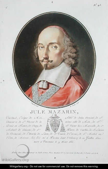 Cardinal Jules Mazarin 1602-61 from Portraits des grands hommes, femmes illustres, et sujets memorables de France, published 1787-92 - Antoine Louis Francois Sergent-Marceau