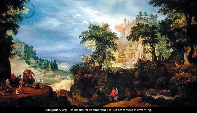 Landscape with travellers - Pieter Schoubroeck