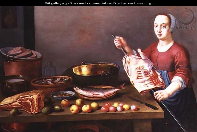 A Still Life of Meat and Fish with a Cook - Floris Gerritsz. van Schooten