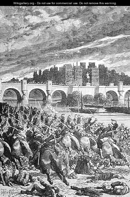 The Massacre at the Pont Neuf, engraved by Stephane Pannemaker 1847-1930, from The History of France, by Emile de Bonnechose, published by Ward, Lock and Co, London - (after) Schuler, Jules Theophile