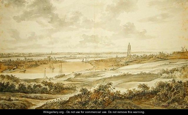 Panorama with the town of Rhenen - Willem Schellinks