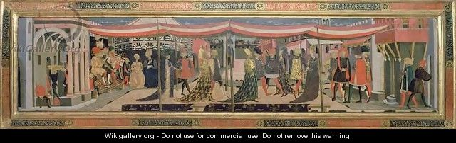 Frontal from the Adimari Cassone depicting a wedding scene in front of the Baptistry, c.1450 - Giovanni di ser Giovanni Guidi (see Scheggia)