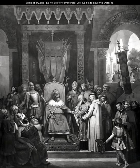 Emperor Charlemagne 747-814 Surrounded by his Principal Officers, Receiving Alcuin (c.735-804) who is Presenting some Manuscripts made by his Monks - Jean-Victor Schnetz