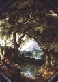 A Wooded Landscape with Hunters by a Stream - Jacob I Savery
