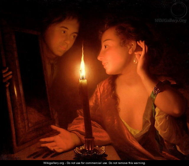 A Lady Admiring An Earring by Candlelight - Godfried Schalcken