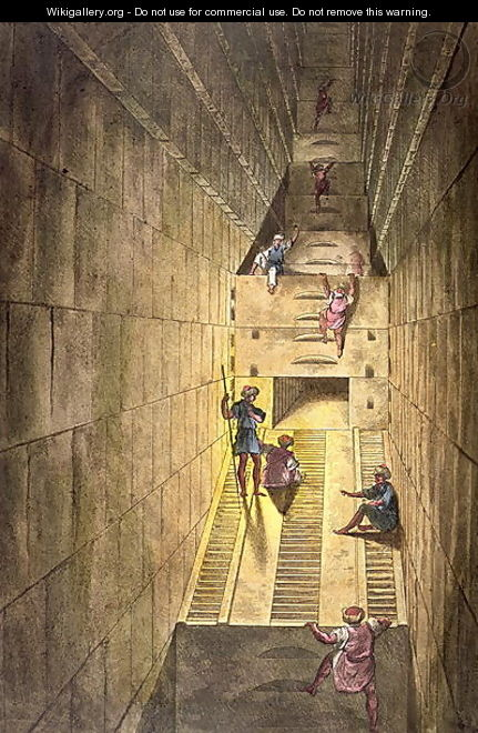 Exploration of the Great Pyramid of Giza, from Le Costume Ancien et Moderne by Jules Ferrario, engraved by Gaetano Zancon 1771-1816 - Alessandro Sanquirico
