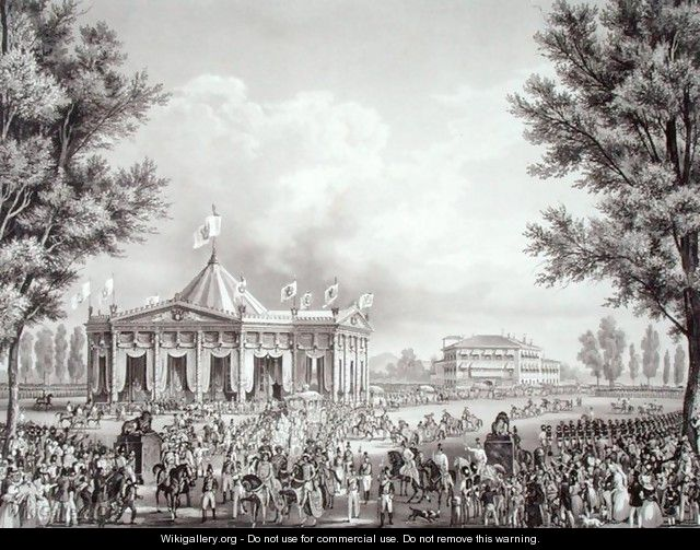 Procession passing the Pavilion erected for the Occasion of the Coronation of Ferdinand I 1793-1875, 1st September 1838, engraved by Falckeisen, from Incoronazione de SMIRA Ferdinando I, il Re del Regno Lombard-Veneto, published 1838 - Alessandro Sanquirico