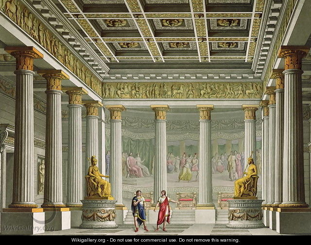The Audience Hall in the Palace of Aegistheus, design for the ballet Orestes at La Scala Theatre, Milan, 1826 - Alessandro Sanquirico