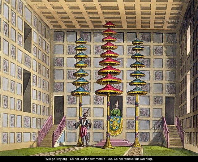 Audience Hall, Cochin China, plate 88 from Le Costume Ancien et Moderne by Jules Ferrario, engraved by Gaetano Zancon 1771-1816 published c.1820s-30s - Alessandro Sanquirico
