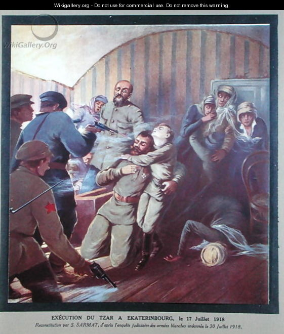 Execution of Tsar Nicholas II 1868-1918 and his Family at Yekaterinburg, 17th July 1918, from Histoire des Soviets by H. de Weindel, 1923-24 - S. Sarmat