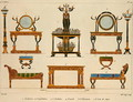 Furniture designs, engraved by Mme Soyer, plate 24 from Modeles de Meubles et de decorations interieures pur les meubles, published 1828-41 - M. Santi