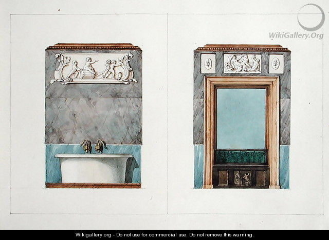 The bathroom at rue Fortunee, house bought by Balzac in 1847, 1851 - M. Santi