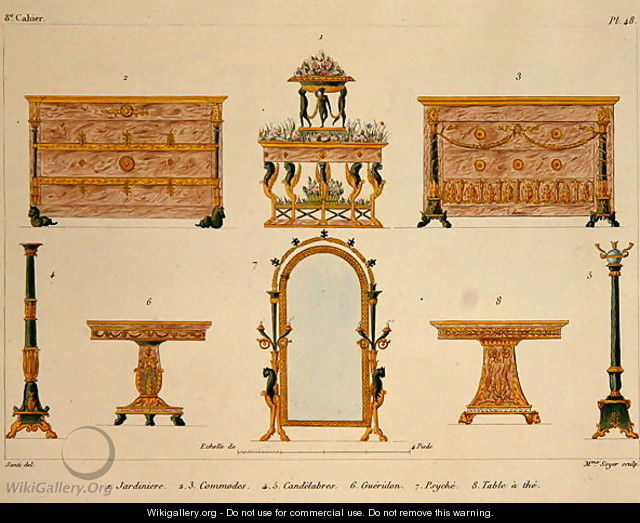 Furniture designs engraved by mme soyer plate 48 from for Le meuble villageois furniture