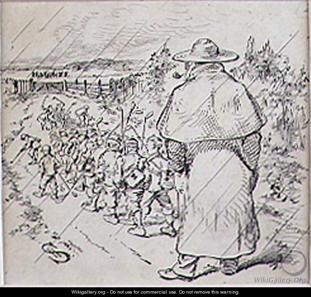 The School Boy Golfers in the Rain, illustration from Graphic magazine, pub. c.1870 - Henry Sandercock