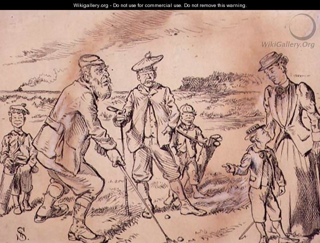 Making fun of the Golfers, illustration from Graphic magazine, pub. c.1870 - Henry Sandercock