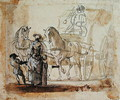 A Carriage and Pair, with Coachman - Paul Sandby
