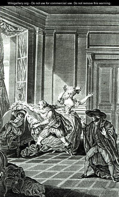 Scene from Act I of The Marriage of Figaro by Pierre-Augustin Caron de Beaumarchais 1732-99 engraved by Claude Nicolas Malapeau 1755-1803 1785 - Jacques-Philip-Joseph de Saint-Quentin
