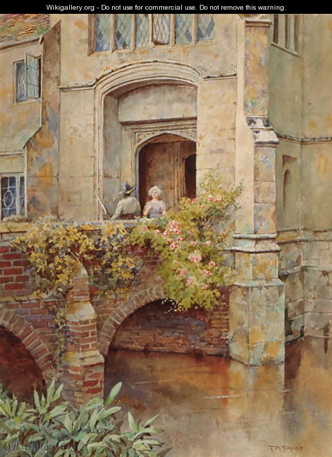 On the Bridge at Baddesley Clinton Hall - Thomas Nicholson Tyndale