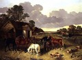 Horses, Pigs, Poultry, Duck and Cattle in a Farmyard - John Frederick Herring Snr