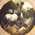A Carthorse eating hay from a wheel-barrow in a farmyard - John Frederick Herring Snr