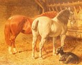 Horses and a goat in a stable - John Frederick Herring Snr