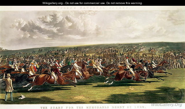 The Start of the Memorable Derby of 1844, engraved by Charles Hunt (1803-77) - John Frederick Herring Snr