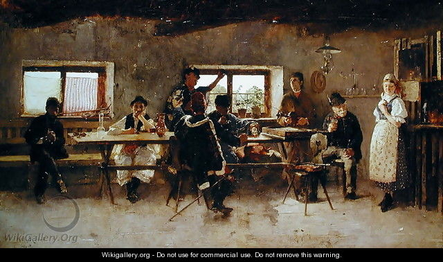 Revellers in a Pub, 1888 - Simon Hollosy