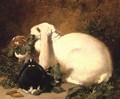 A Doe Rabbit and her two young, 1852 - John Frederick Herring Snr