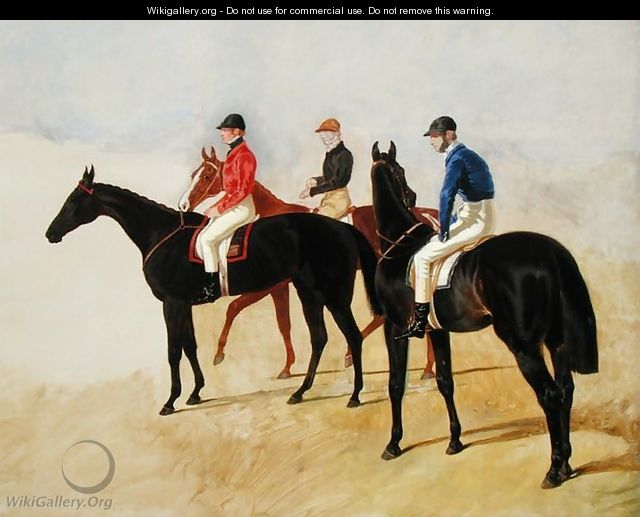 Study of Three Steeplechase Cracks: Allen McDonough on Brunette, Tom Oliver on Discount and Jem Mason on Lottery, or Three Racehorses with Jockeys Up - John Frederick Herring Snr